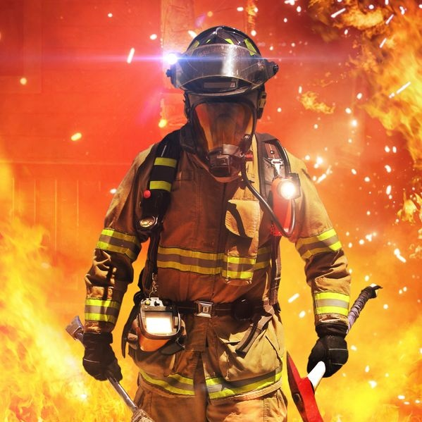 21777108 - firefighter searching for possible survivors with tools, tacticle lighting and thermal imaging camera  part of a firefighter series