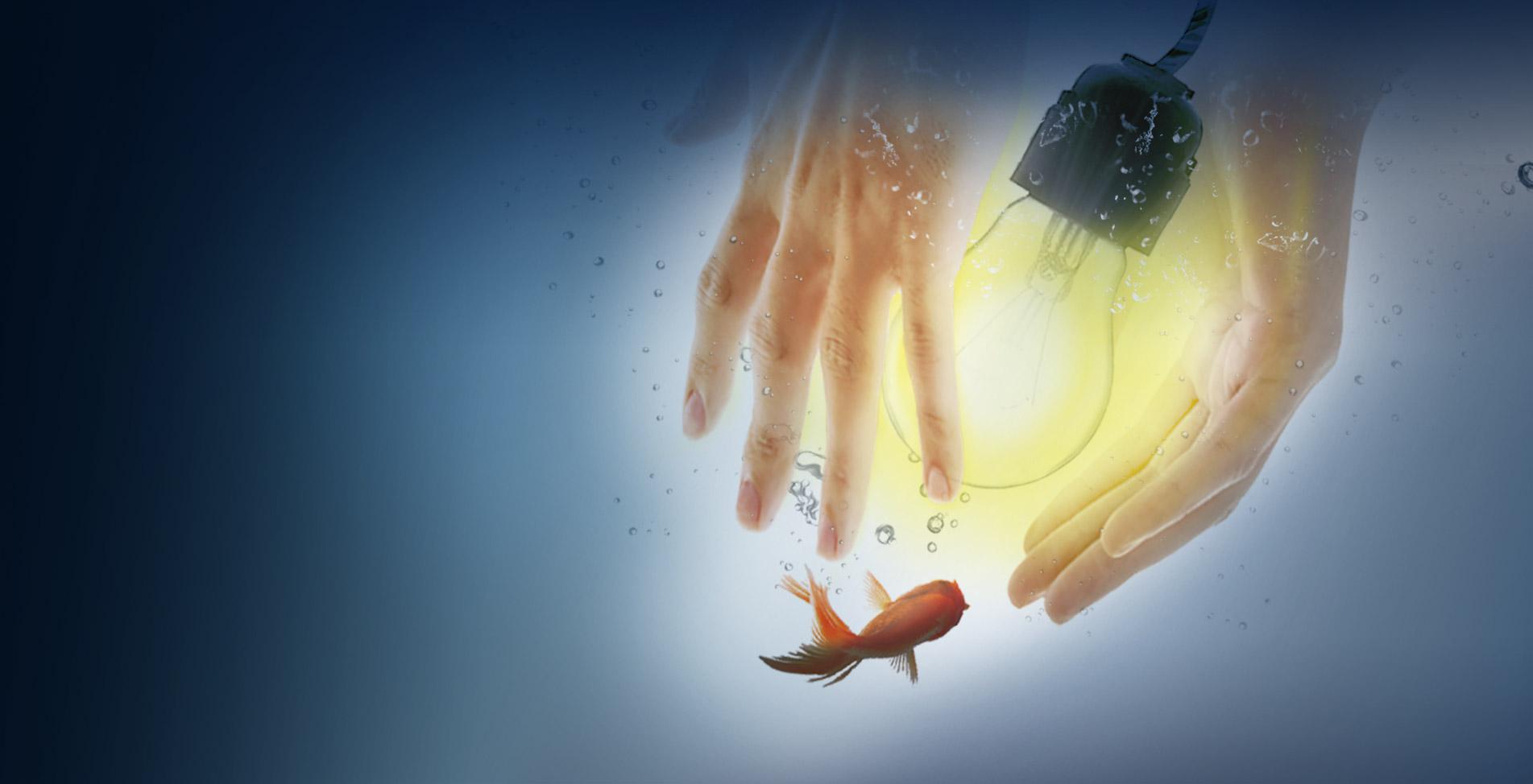 水中開啟燈泡